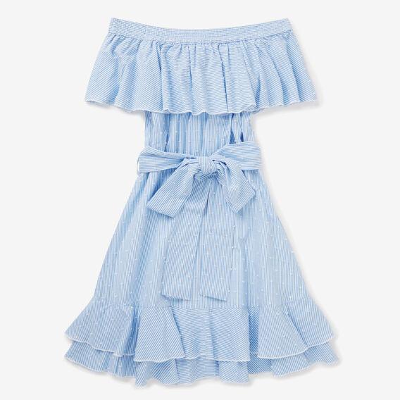 Frill Stripe Dress  BLUE MARINE  hi-res