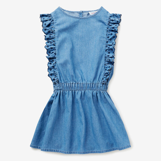 Embroidered Chambray Dress  SEA BLUE WASH  hi-res