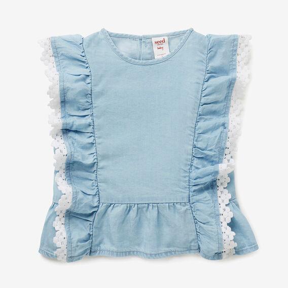 Crochet Chambray Top  SOFT BLUE  hi-res