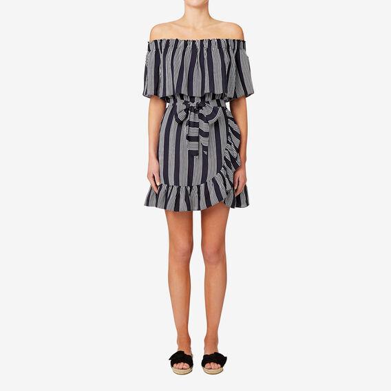 Off Shoulder Frill Dress  STRIPE  hi-res