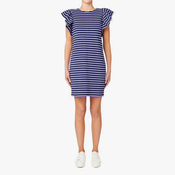 Striped Frill Sleeve Dress  STRIPE  hi-res