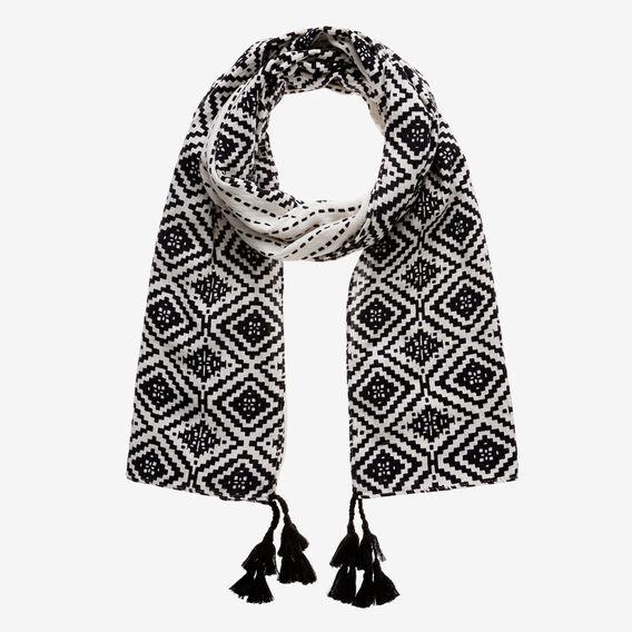 Aztec Diamond Scarf  BLACK/WHITE  hi-res