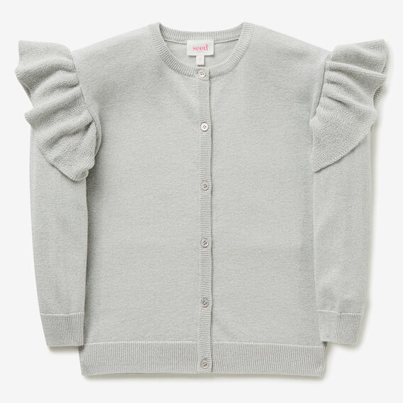 Metallic Frill Cardigan  DOVE GREY  hi-res