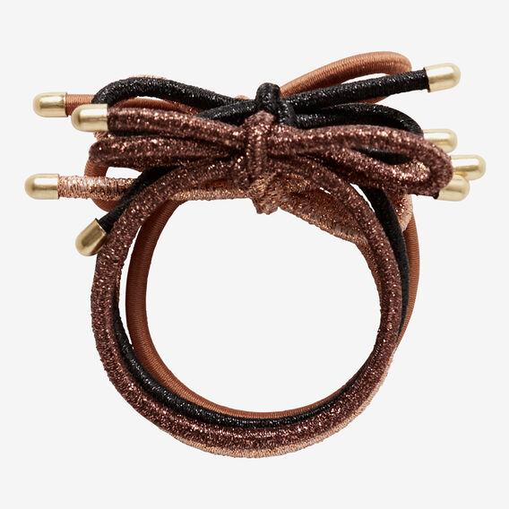Bow Hair Elastic Pack  DARK METALLIC  hi-res