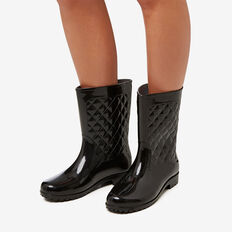 Quinn Quilted Gumboot  BLACK  hi-res