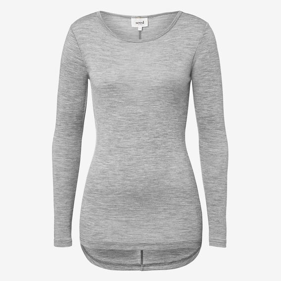 Scooped Knit Top  MID GREY MARLE  hi-res