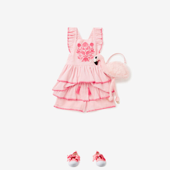 Embroidered Frill Cross Back Top  ICE PINK  hi-res