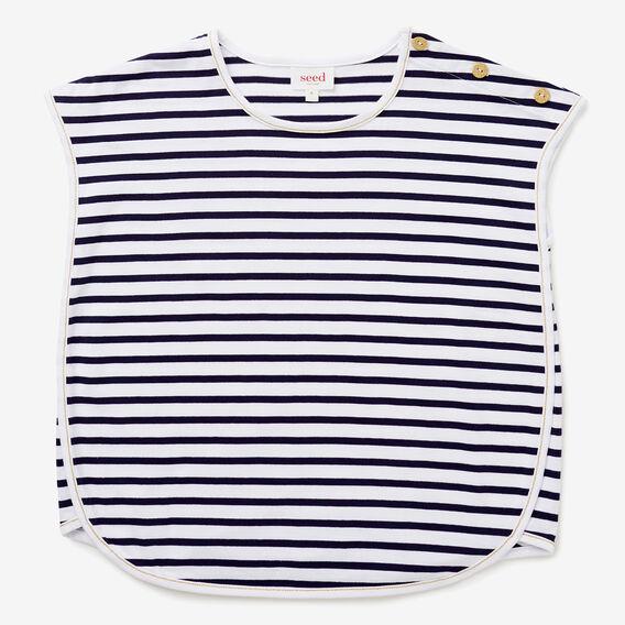 Stripe Curved Hem Tee  NAVY  hi-res