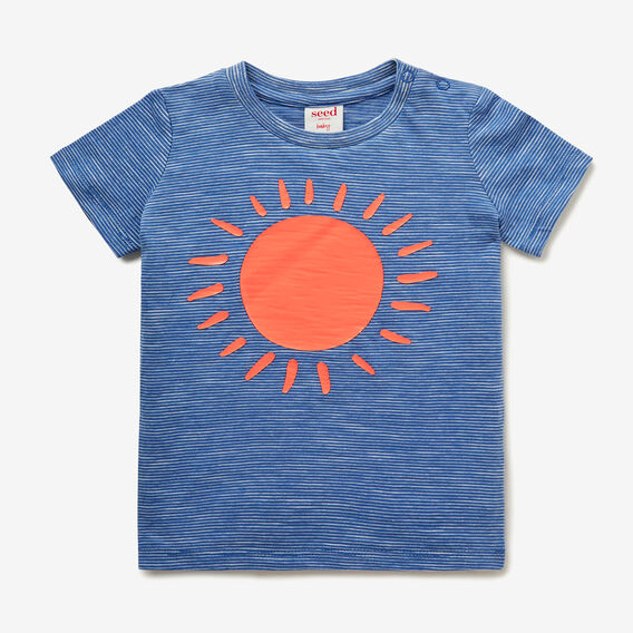 Big Sun Stripe Tee  NIAGARA BLUE  hi-res