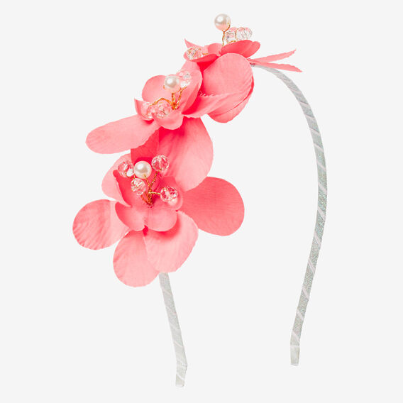 Wire Bead Flower Headband  NEON ROSE  hi-res
