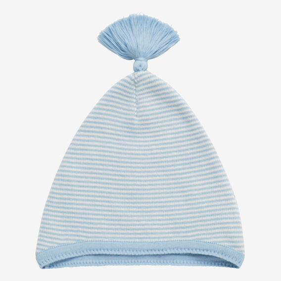 Knit Stripe Tassel Hat  WATER BLUE  hi-res