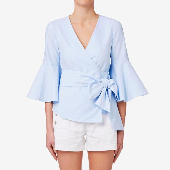 Flare Sleeve Wrap Top  GLACIER BLUE  hi-res