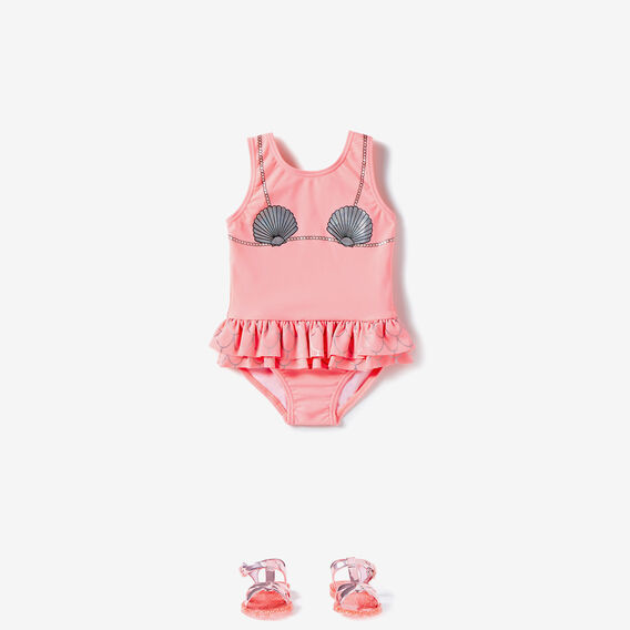 Frill Mermaid Bather  PINK GRAPEFRUIT  hi-res