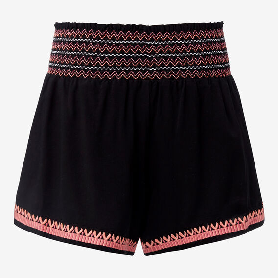 Embroidered Short  BLACK  hi-res