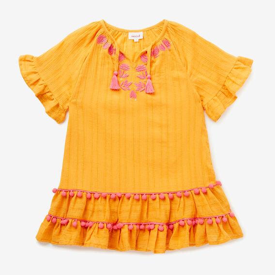 Pom Pom Tiered Dress  LIGHT MARIGOLD  hi-res