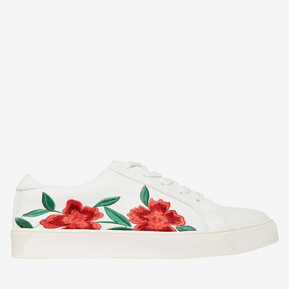 Floral Embroidered Runner  WHITE  hi-res
