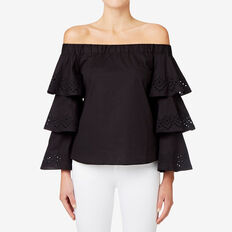 Embroidered Sleeve Top  BLACK  hi-res