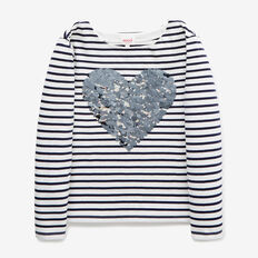Sequin Heart Tee  NAVY  hi-res
