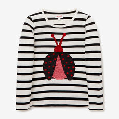 Flip Sequin Ladybug Tee  CANVAS/BLACK  hi-res