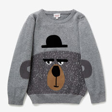 Bear Intarsia Sweater  STONE GREY MARLE  hi-res