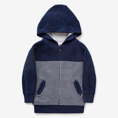 Zip-Up Knit Hoodie  MIDNIGHT BLUE  hi-res
