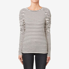 Gathered Seam Top  BONE STRIPE  hi-res