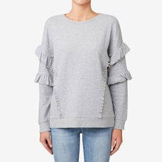 Frilly Sweater  MID GREY MARLE  hi-res