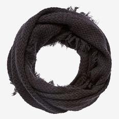 Basket Knit Fringe Snood  BLACK  hi-res