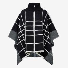 Zip Check Poncho  BLACK/WHITE  hi-res