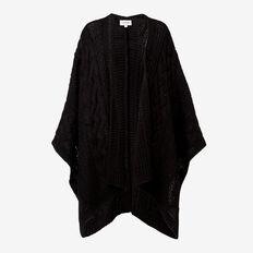Cable Knit Poncho  BLACK  hi-res