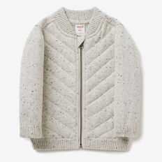 Knit Zip Thru Bomber  SALT & PEPPER  hi-res