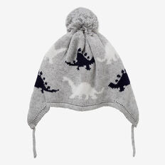 Dino Ear Beanie  GREY SPECKLE MARLE  hi-res