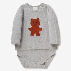Fuzzy Bear T-Shirt Bodysuit  FOG GREY MARLE  hi-res
