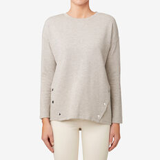 Snap Button Top  TAUPE MARLE  hi-res