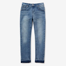 Exposed Hem Jeans  LIGHT WASH  hi-res