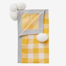 Gingham Knit Blanket  MUSTARD  hi-res