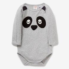 Panda Novelty Bodysuit  FOG GREY MARLE  hi-res