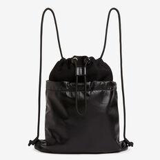 Spliced Drawstring Bag  BLACK  hi-res