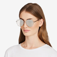 Isobel Round Aviator Sunglasses  SILVER  hi-res
