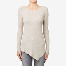 Rib Asymmetrical Sweater  TAUPE MARLE  hi-res