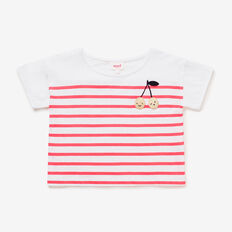Fruity Embroidered Stripe Tee  WATERMELON  hi-res