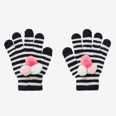 Triple Pom Pom Gloves  NAVY  hi-res