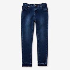 Exposed Hem Jeans  MEDIUM WASH  hi-res