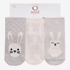 3 Pack Bunny Socks  GREY  hi-res