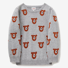 Bear Print Crew Knit  GREY SPECKLE MARLE  hi-res