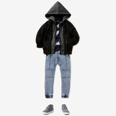 Hooded Bomber Jacket  BLACK  hi-res