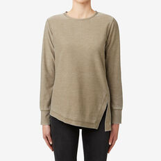 Asymmetrical Washed Top  MILITARY OLIVE MARLE  hi-res