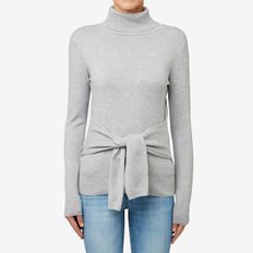 Tie Front Roll Neck Sweater  MID GREY MARLE  hi-res
