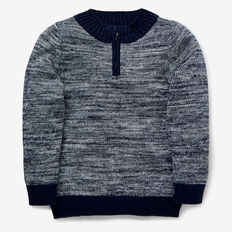 Stand Neck Mixy Knit  MIDNIGHT BLUE  hi-res