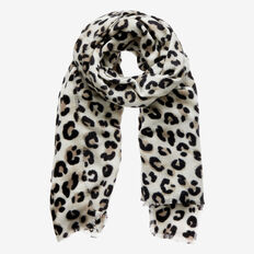 Snow Leopard Winter Scarf  WHITE/BLACK  hi-res